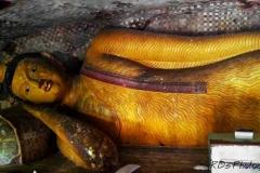 Sleeping Golden Buddha statues in Dambulla Cave Temple, Sri Lanka